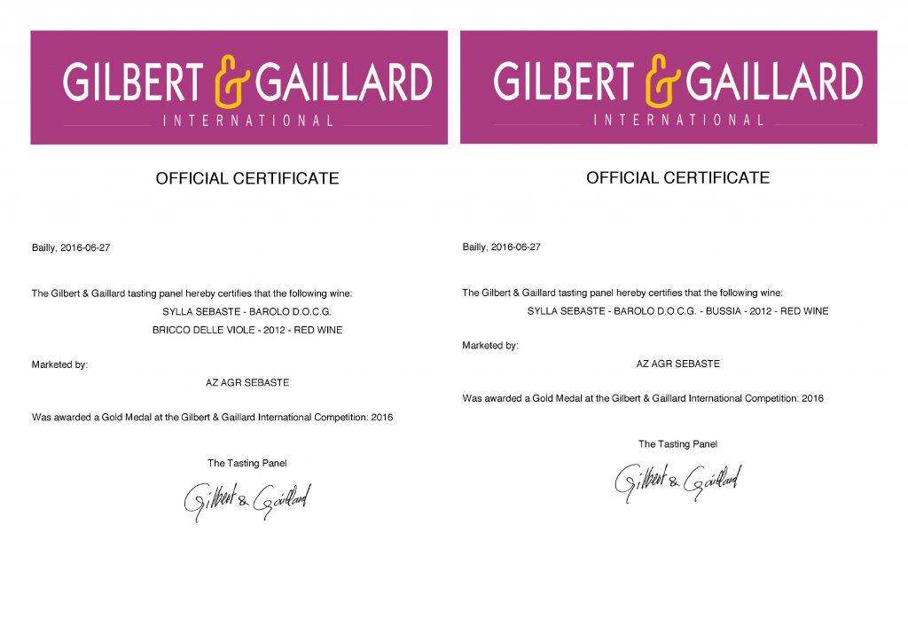 Medaglie d'oro certificato Bussia e Bricco